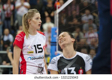 LODZ, POLAND – 02 23 2019: Polish Women's Volleyball League LKS Commercecon Lodz - Grot Budowlani Lodz. LKS Commercecon players Klaudia Alagierska and Krystyna Strasz are disappointed.