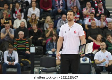 LODZ, POLAND – 02 23 2019: Polish Women's Volleyball League LKS Commercecon Lodz - Grot Budowlani Lodz. LKS COmmercecon coach Michal Masek.