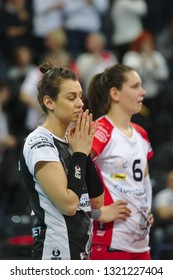 LODZ, POLAND – 02 23 2019: Polish Women's Volleyball League LKS Commercecon Lodz - Grot Budowlani Lodz. Sad LKS Commercecon players Anna Korabiec and Aleksandra Wojcik.