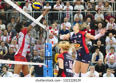 LODZ, POLAND – 02 23 2019: Polish Women's Volleyball League LKS Commercecon Lodz - Grot Budowlani Lodz. Grot Budowlani player Jaroslava Pencova.