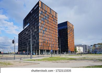 """LODZ, POLAND 02 MAY 20202: """"City Gate"""" office buildings in the """"New Center o Lodz"""" on Kilińskiego street in Lodz."""