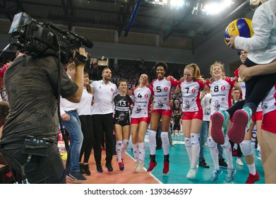 LODZ, POLAND – 04 29 2019: Polish Women's Volleyball League LKS Commercecon Lodz - Grot Budowlani Lodz. 3rd Final game. LKS Commercecon team - new Polish Champion 2018/2019.