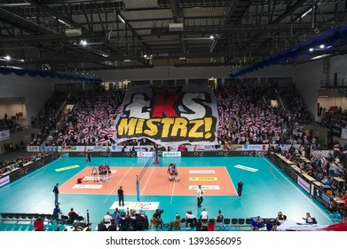 LODZ, POLAND – 04 29 2019: Polish Women's Volleyball League LKS Commercecon Lodz - Grot Budowlani Lodz. 3rd Final game. LKS Commercecon supporters.