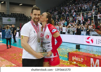 LODZ, POLAND – 04 29 2019: Polish Women's Volleyball League LKS Commercecon Lodz - Grot Budowlani Lodz. 3rd Final game.  Michal Masek - LKS coach and Lucie Muhlsteinowa - LKS player.