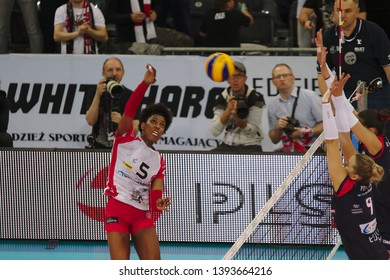 LODZ, POLAND – 04 29 2019: Polish Women's Volleyball League LKS Commercecon Lodz - Grot Budowlani Lodz. 3rd Final game. Regiane Bidias - LKS player.