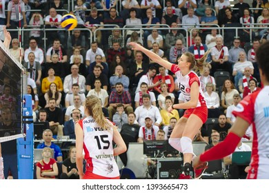 LODZ, POLAND – 04 29 2019: Polish Women's Volleyball League LKS Commercecon Lodz - Grot Budowlani Lodz. 3rd Final game. Monika Bociek - LKS player.