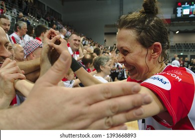 LODZ, POLAND – 04 29 2019: Polish Women's Volleyball League LKS Commercecon Lodz - Grot Budowlani Lodz. 3rd Final game. Marta Wojcik - LKS player.