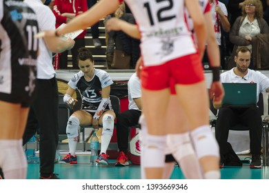 LODZ, POLAND – 04 29 2019: Polish Women's Volleyball League LKS Commercecon Lodz - Grot Budowlani Lodz. 3rd Final game. Krystyna Strasz - LKS libero.