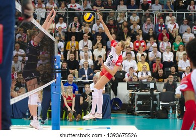 LODZ, POLAND – 04 29 2019: Polish Women's Volleyball League LKS Commercecon Lodz - Grot Budowlani Lodz. 3rd Final game. Zuzanna Efimienko-Mlotkowska - LKS player