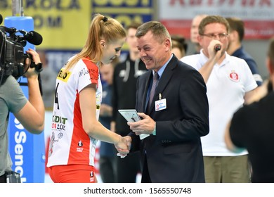 LODZ, POLAND – 11 15 2019: Polish Women's Volleyball League LKS Commercecon Lodz - Volley Wroclaw. MVP for Joanna Pacak (LKS).