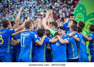 LODZ, POLAND - 15 June, 2019:  FIFA U-20 World Cup Poland 2019, Final match, Ukraine - South Korea o.p Ukraine U20 team celebrate winning FIFA U-20 World Cup