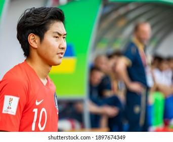 LODZ, POLAND - 15 June, 2019:  FIFA U-20 World Cup Poland 2019, Final match, Ukraine - South Korea o.p Lee Kangin