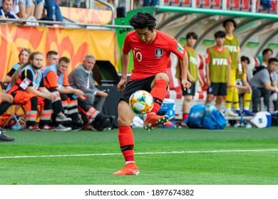 LODZ, POLAND - 15 June, 2019:  FIFA U-20 World Cup Poland 2019, Final match, Ukraine - South Korea o.p Lee Kang-in