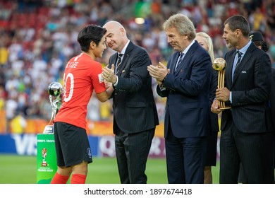 LODZ, POLAND - 15 June, 2019:  FIFA U-20 World Cup Poland 2019, Final match, Ukraine - South Korea o.p Lee Kangin, Gianni Infantino, Zbigniew Boniek (president of Polish Football Association)