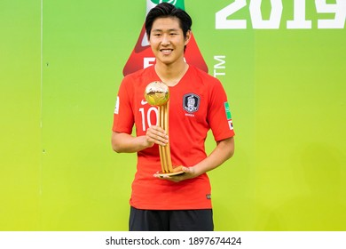 LODZ, POLAND - 15 June, 2019:  FIFA U-20 World Cup Poland 2019, Final match, Ukraine - South Korea o.p Lee Kangin with trophy for the best player of the tournament