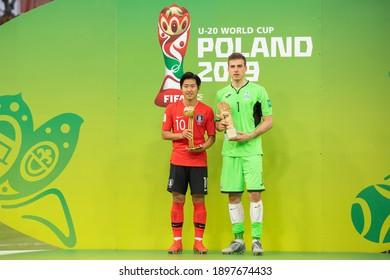 LODZ, POLAND - 15 June, 2019:  FIFA U-20 World Cup Poland 2019, Final match, Ukraine - South Korea o.p Lee Kangin and Andriy Lunin with trophies