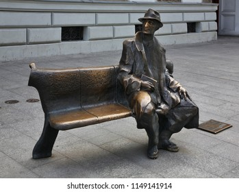 LODZ. POLAND.  19 JUNE 2017 : Bench of Julian Tuwim at Piotrkowska street in Lodz. Poland