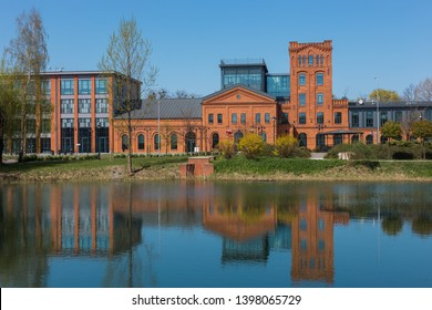 LODZ, POLAND - 21 April 2019: revitalized Ludwik Grohman factory in Księży Młyn area in Lodz, Poland is the headquarters of Special Economic Zone.