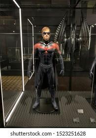 Lodz, Poland - 28 september 2019: Batman & Robin costume DC Universe Dawn of Justice exhibition