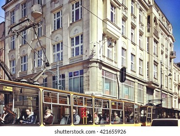 LODZ, POLAND - APRIL 21, 2016: Nice architecture view. Sightseeing Lodz. View on the Piotrkowska street. APRIL 21, 2016. Lodz, Poland.