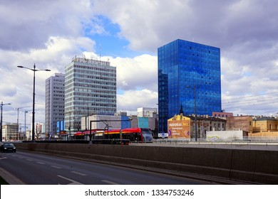 LODZ, POLAND, APRIL, 29 2018: Avenue of Marshal Józef Pilsudski in Lodz. Architecture in the center of lodz. Office and residential buildings. A new route connecting the two ends of the city of Lodz.