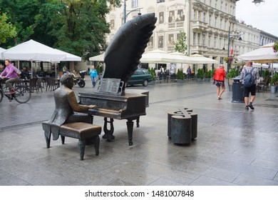 LODZ, POLAND - AUGUST 16, 2019: Monument to Arthur Rubinstein (1887-1982), a Polish American classical pianist in Lodz, Poland.