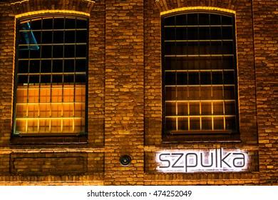 Lodz, Poland, August 26, 2016, night, Szpulka restaurant sign, neon
