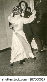 LODZ, POLAND, CIRCA 1970's: Vintage photo of newlyweds dancing during a wedding party