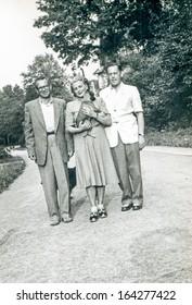 LODZ, POLAND - CIRCA FIFTIES: vintage photo of unidentified family, Lodz, Poland, circa fifties