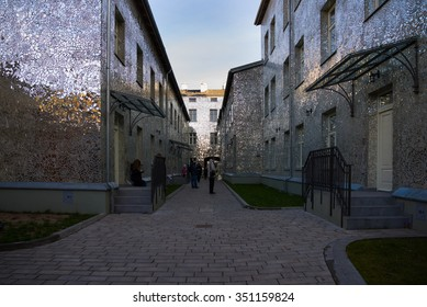 LODZ, POLAND - DECEMBER 05, 2015: Rosa's Passage in LODZ, mosaic of cut mirrors, Rajkowska's works.