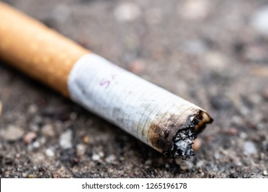 Lodz, Poland, December 23, 2018: closeup of smashed cigarette butt on asphalt, macro of stub with copy space, Smoking is bad for your health.