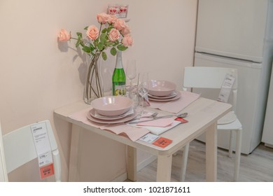 Lodz, Poland, Feb 10, 2018 exhibition at IKEA store. dining room with tableware. IKEA is Swedish-founded Dutch-based co. that designs, sells ready-to-assemble furniture, appliances, home accessories.
