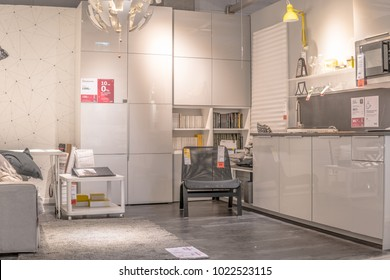 Lodz, Poland, Feb 10, 2018 exhibition at IKEA store. modern Living room equipment. IKEA is Swedish-founded Dutch-based co. that designs, sells ready-to-assemble furniture, appliances, home accessories