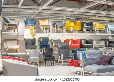 Lodz, Poland, Feb 10, 2018 exhibition at IKEA store. Modern Armchairs. IKEA is Swedish-founded Dutch-based co. that designs, sells ready-to-assemble furniture, appliances, home accessories.