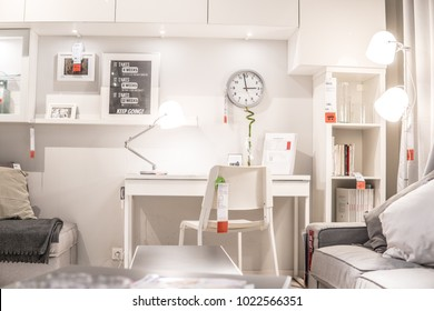 Lodz, Poland, Feb 10, 2018 exhibition at IKEA store. modern Living room equipment. IKEA is Swedish-founded Dutch-based co that designs, sells ready-to-assemble furniture, appliances, home accessories