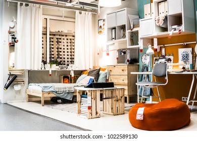 Lodz, Poland, Feb 10, 2018 Exhibition At IKEA Store. Modern Stylish Room