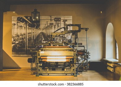 LODZ, POLAND - FEBRUARY 13: Old machines at Central Museum of Textiles on February 13, 2016 in Lodz, Poland.
