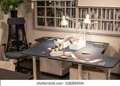 Lodz, Poland, Jan 12, 2019 exhibition at IKEA store. office equipment, company desk, comfortable armchair, modern lamp. IKEA designs, sells ready-to-assemble furniture, appliances, home accessories