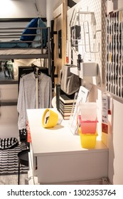 Lodz, Poland, Jan 12, 2019 exhibition at IKEA store. modern Living room equipment. IKEA is Swedish-founded Dutch-based co. that designs, sells ready-to-assemble furniture, appliances, home accessories