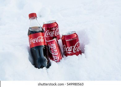 Lodz, Poland, January 06, 2017: Editorial photo of Classic Coca Cola can, Coca-Cola Company is the most popular market leader carbonated soft drink