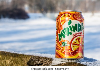 Lodz, Poland, January 28, 2017: Can of Mirinda soft drink. Created in Spain. Mirinda has been owned by PepsiCo since 1970