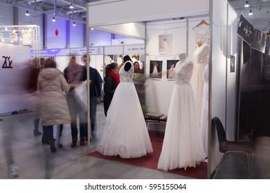 Lodz, Poland, January 29, 2017: Wedding Fair, bridal dress
