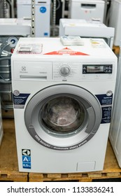 Lodz, Poland, July 11, 2018 inside Media Markt electronic store, white free-standing Electrolux TimeManager washing machine with Energ label A+++ 6,5kg on display, produced by Electrolux