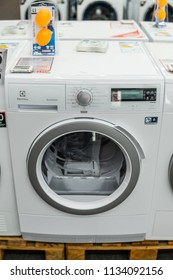 Lodz, Poland, July 11, 2018 inside Media Markt electronic store, free-standing Electrolux Delicatecare dryer washing machine EDH3488GDE on display, produced by Electrolux AB Swedish home appliance co