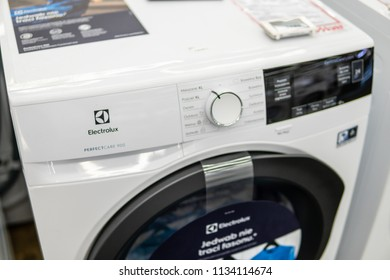 Lodz, Poland, July 11, 2018 inside Media Markt electronic store, free-standing Electrolux PerfectCare 900 dryer washing machine on display, produced by Electrolux
