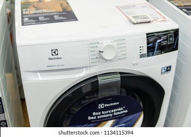 Lodz, Poland, July 11, 2018 inside Media Markt electronic store, free-standing Electrolux PerfectCare 800 dryer washing machine on display, produced by Electrolux