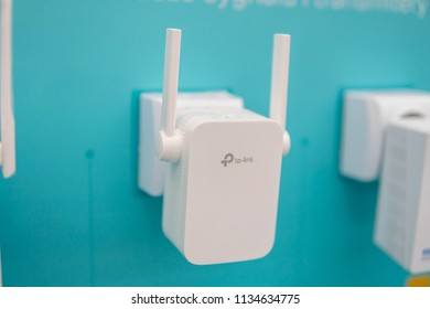 Lodz, Poland, July 11, 2018 inside Media Markt electronic store, TP-Link wifi web network router for communication and wireless ethernet connection to internet, produced by TP-Link