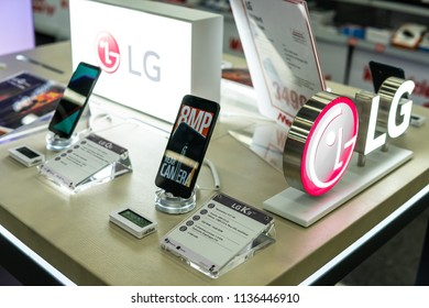 Lodz, Poland, July 11, 2018 inside Media Markt electronic store, LG K9 Dual smartphone on display, presentation on screen most important features of LG K9 Dual with Android system