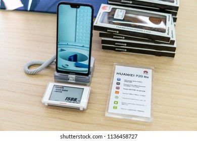 Lodz, Poland, July 11, 2018 inside Media Markt electronic store, Huawei P20 Lite smartphone on display, presentation most important features of Huawei P20 Lite with Android system