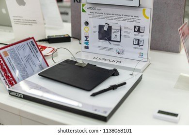 Lodz, Poland, July 11, 2018 inside Media Markt electronic store, Wacom Bamboo Spark tablet on display, Wacom Co. is Japanese company that specializes in graphics tablets